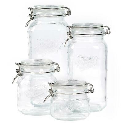 Glass Jar Set Food Storage Container Kitchen Clear Sugar Flo