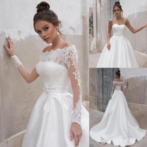 Off Shoulder Bridal Lace Jackets Long Sleeve Lady Wedding Shrug Top Bolero Wrap