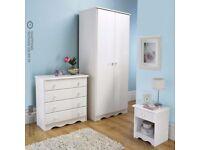 Brand New Trafford 3-Piece Bedroom Set Spacious 2 Door Wardrobe Bedside Chest Draws