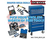 DRAPER 6 DRAWER TOOL CHEST + 5 DRAWER ROLLER CABINET W/ £50 WORTH OF HAND TOOLS