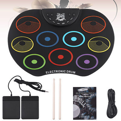 Electronic Drum Digital USB 9 Pads Roll up Drum Set Silicone Electric Drum Kit