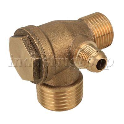 3-port Direct Air Compressor Parts Male Thread Check Valve Pipe Brass Golden