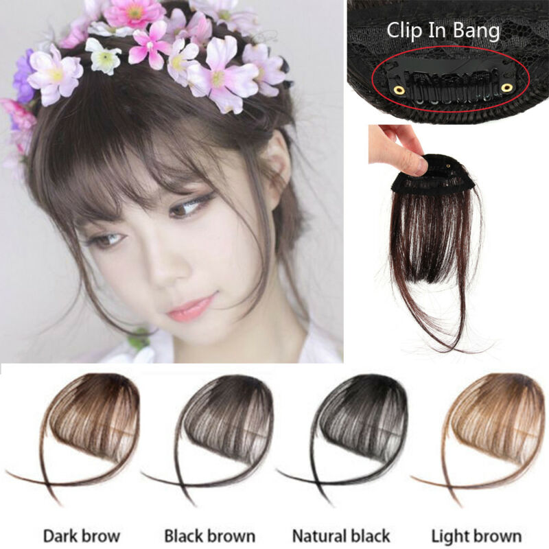Thin Natural Air Bangs Hair Extension Clip Korean Fringe Front
