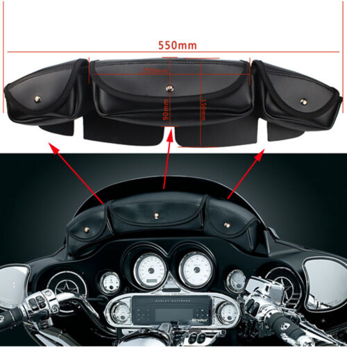 X-LARGE MOTORCYCLE WINDSHIELD BAG w// 2 POCKET POUCH FOR HARLEY DX3