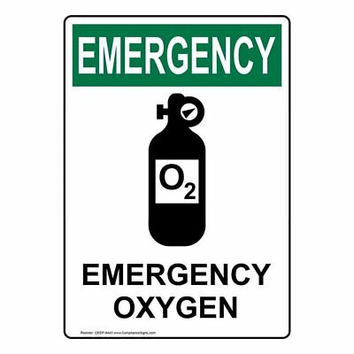 Compliancesigns Vertical Plastic Osha Emergency Emergency Oxygen Sign 10 X 7...