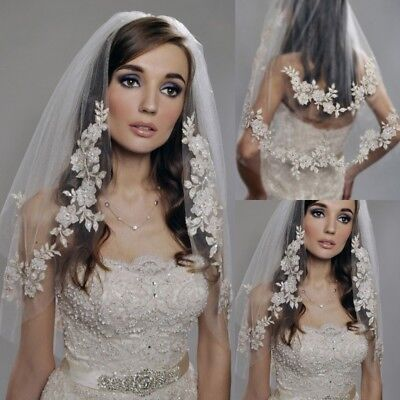 Short Wedding Veils Pearls Lace Cheap Imported Silver Thread Flower + Comb Veil