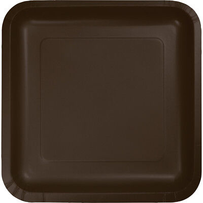 - (54 Pack) Brown Square 7-inch Paper Plates Wedding Birthday Shower Party