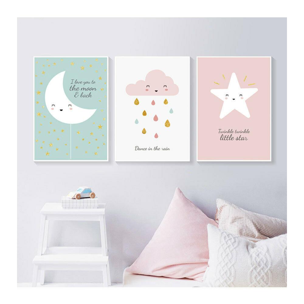Stars Moon Cloud Art Hang Wall Painting Posters Print Kids Room