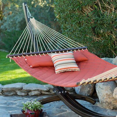 Island Bay 13 ft. Sienna Diamond Stitch Quilted Double Hammock, Red, 2 Person