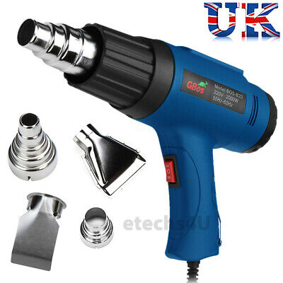 2000w Hot Air Heat Gun With 4 Nozzles Paint Stripper Stripping Shrink Power Tool