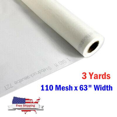 Us-3 Yards White Silk Screen Silkscreen Printing Fabric 110 Mesh X 63 Width