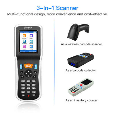 Eyoyo 3 In 1 Wireless Barcode Scanner Data Collector Inventory Bar Code Reader