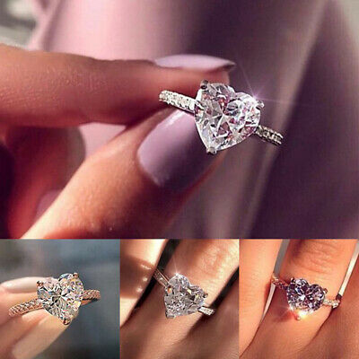 Women Crystal Heart Shaped Rings 925 Sterling Silver Ring Ladies Engagement (Ladies Shapes)