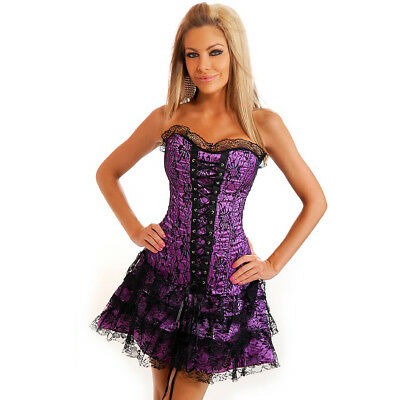 Moulin Rouge Burleqsue Black Purple Lace Corset Halloween Gothic Fancy Dress - Moulin Rouge Halloween Costume