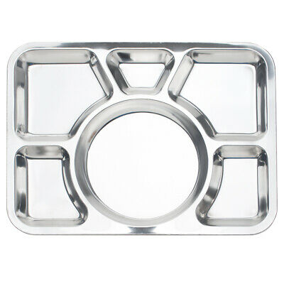 Rectangle Food Serving Tray Silver Compartment Divided Tray Cafeteria 6 Sections