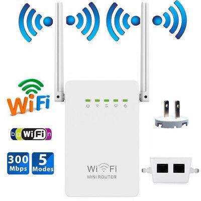 300Mbps Wireless Mini WiFi Repeater Router Range Extender Hotspot AP 2 Antenna