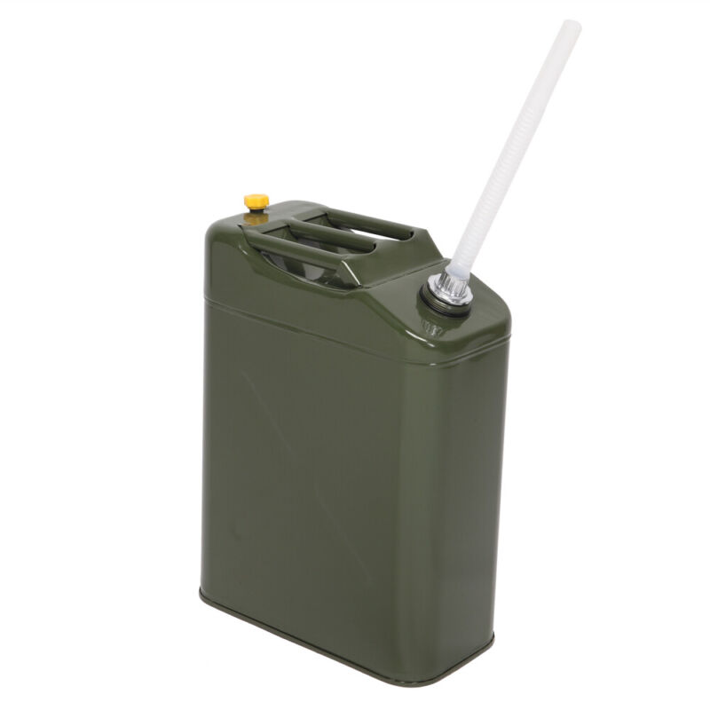 Army Green 20L 5 Gallon Gas Fuel Can Fuel Gasoline Steel Tank  w/Spout Portable