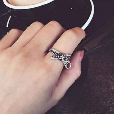Antiqued Silver Tone Ring - Unique Zipper Ring Antiqued Silver Tone Toe Jewelry Womens Punk Gift Size 5 - 6