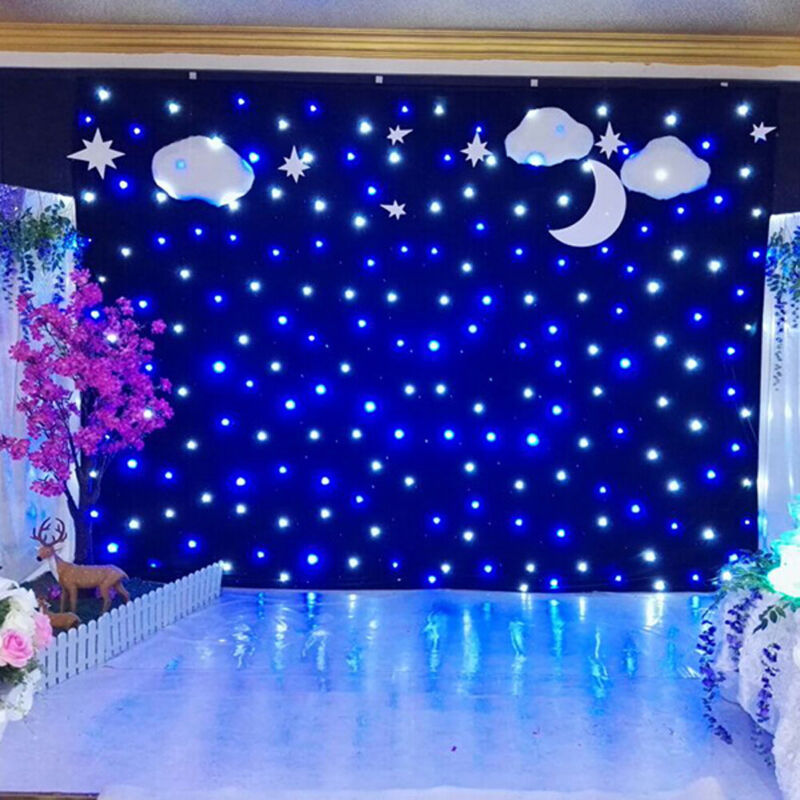 LED Stage Star Backdrop Wedding Show Curtain Velvet Backdrop 6X3M+DMX Controller