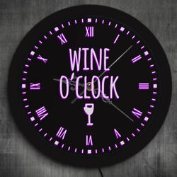 Wine o'Clock LED Neon Sign Modern Lighting Wall Clock Watch Winery Sign Decor