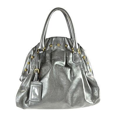 NWT Valentino Garavani Studded Leather Gathered Frame Bowler Bag Pewter $1950+