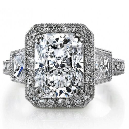 Diamond Engagement Ring Radiant Cut 18k White Gold 2.50 Carat GIA Certified