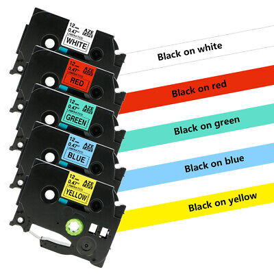 Tze-231 Tz431 Tze631 Label Tape Compatible For Brother P-touch 5 Color 12mm 5pk