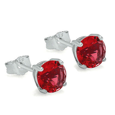 Ruby Simulated Earring (JULY BIRTHSTONE SIMULATED RED RUBY CZ SOLITAIRE STUD EARRINGS STERLING)