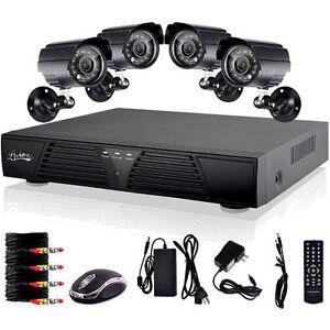 4CH CCTV H 264 Security DVR 4 Outdoor Night Vision Cameras ...