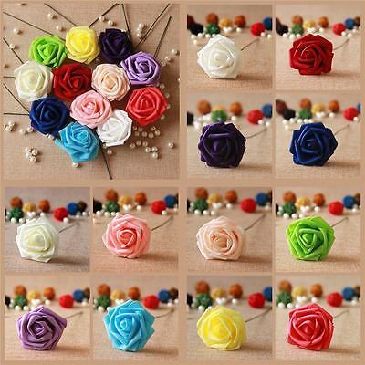 50 Foam Roses With Stems Artificial Flowers Party Wedding Bouquet DIY Home Decor - Foam Flower
