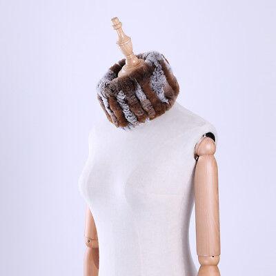 - 2017 Genuine Rex Rabbit Fur Ring Cowl Scarf Scarves Headband Neck Warmer Elastic