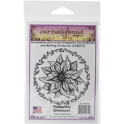 Our Daily Bread Cling Stamps Poinsettia Ornament   New