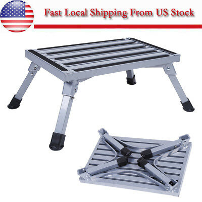 Aluminum Platform Step Stool Folding Car Trailer Camper Portable Working Ladder