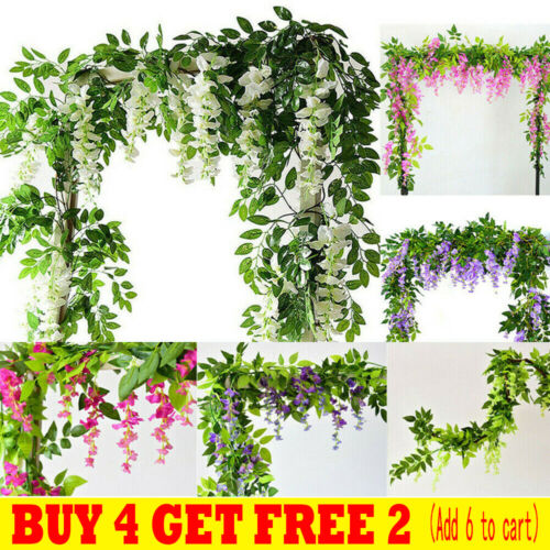 Home Decoration - 7FT Artificial Wisteria Vine Garland Plant Foliage Trailing Flower Home Decor UK