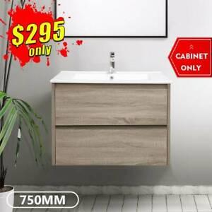 Bathroom Vanity 750mm Wall Hung Cabinet Finger Pull Kris *NEW*