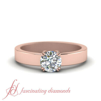 1/2 Carat Round Cut Diamond Flat Solitaire Womens Engagement Ring In Rose Gold