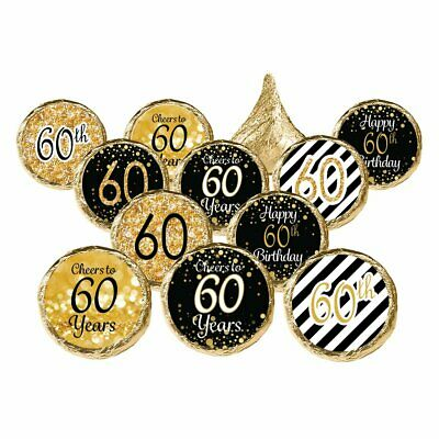 Black And Gold Party Favors (DISTINCTIVS 60th Birthday Party Favor Stickers - Gold and Black (Set of)