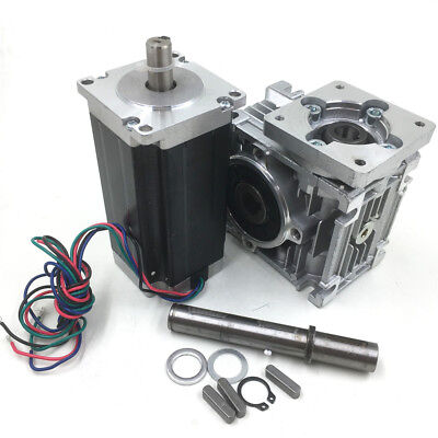 Nema23 3nm Stepper Motor L112mm 4.2a 201 Worm Gearbox Cnc Speed Reducer Kit