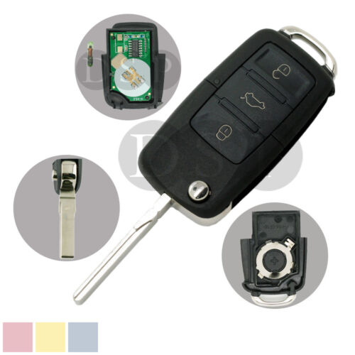 Flip Key Case 434MHz Chip fit for VOLKSWAGEN SEAT SKODA 3 BTN Key 1K0 959 753 G
