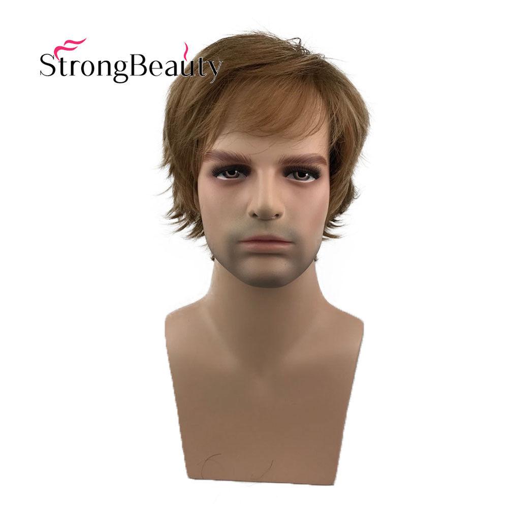 Details About Men Short Golden Brown Wig Hair Oblique Bangs Layered Fluffy Wigs Heat Safe