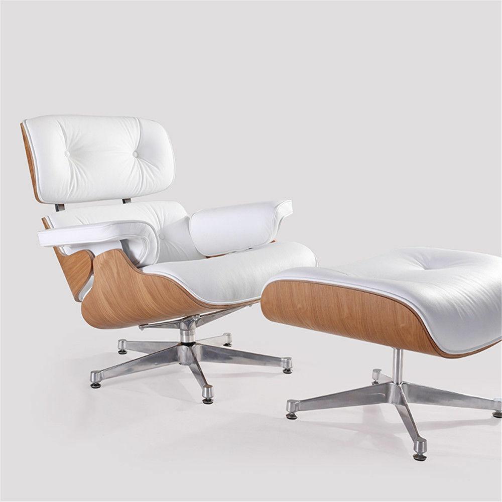 White Genuine Leather Eames Lounge Chair & Ottoman Ashwood T