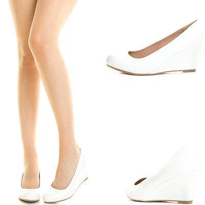 White Round Toe Med Low Wedge Heel Slip On Womens Pump Shoe Dress Bridal Wedding ()