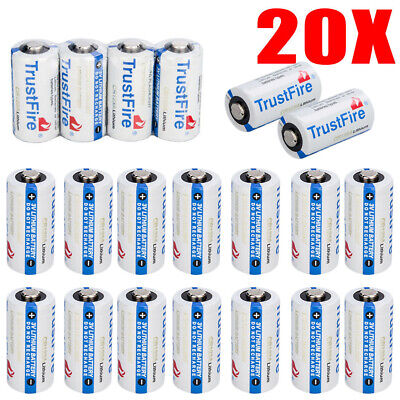 20pcs TrustFire CR123A 1400mAh Lithium Battery 3.0V Non-Rechargeable Batteries ()