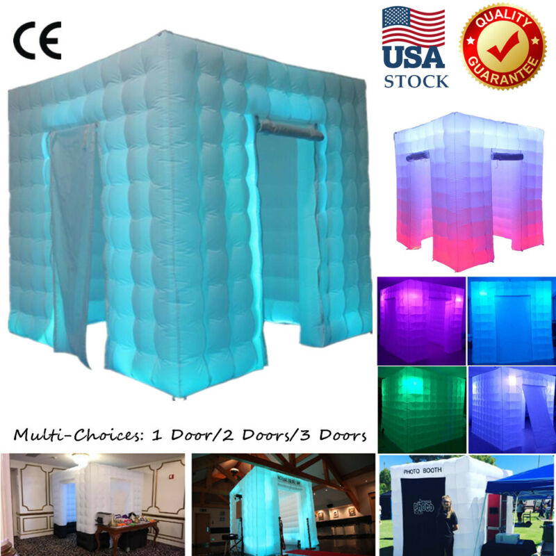 LED Inflatable photo booth party Backdrop Colors changing Inflatable Cabin Tent