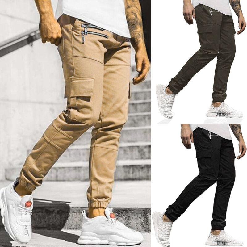 Mens Slim Fit Cargo Work Trousers Jogging Combat Joggers Tracksuit Bottoms Pants