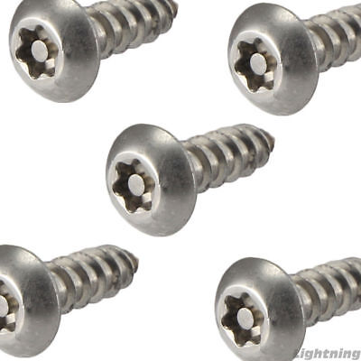 14 X 34 License Plate Security Screws Torx Button Head Stainless Steel Qty 10