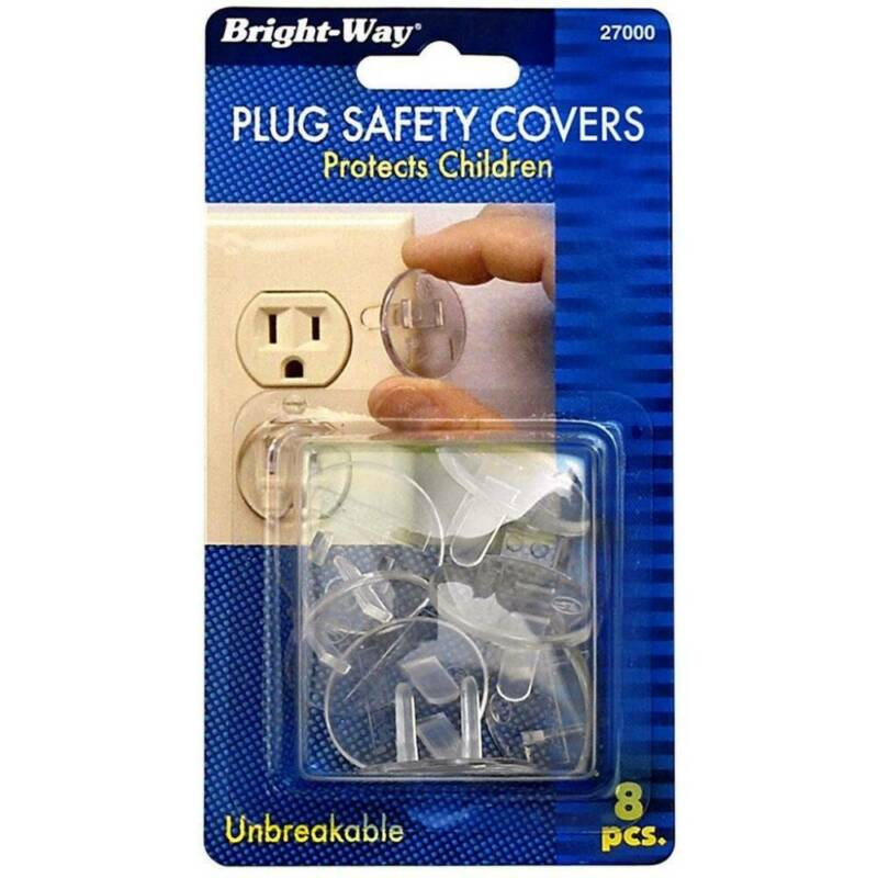 Bright Way Plug Safety Covers Outlet Caps Protects Children Unbreakable, 8 Count