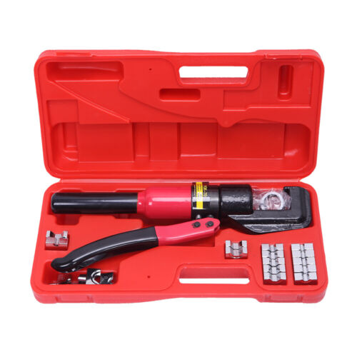 8 Ton Hydraulic Wire Cable Terminal Crimper Crimping Tool Pliers Set w/ 9 Dies