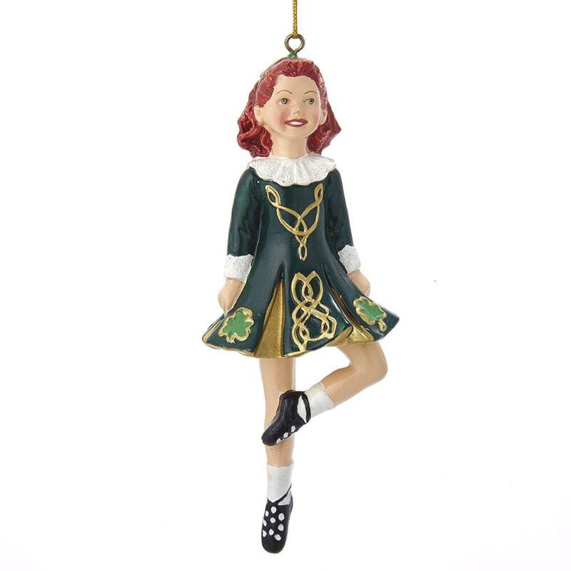 Dancing Irish Girl Ornament W4100 New Irish Step Dancer Christmas Ornament