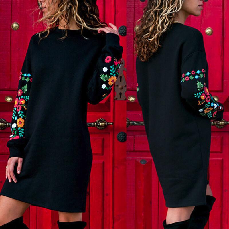 Women Autumn Winter Casual Long Sleeve Floral Embroidery Sweatshirt Dress Skirt